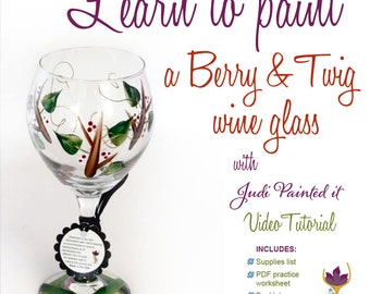 DIY, wine glass painting, video tutorial, paint a holly berry, learn to paint glass, how to paint glass, holiday painting, glass painting