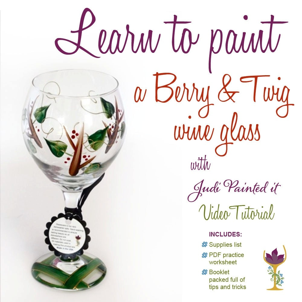 Diy wine glass painting video tutorial paint a holly for Wine glass painting tutorial