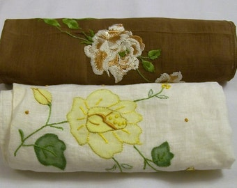 Vintage Handkerchiefs, Hankie, Hankies with Roses, Yellow Rose, Hankie, Ladies Handkerchiefs, 2 Ladies Handkerchiefs