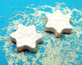 Snowflake Beads - Handmade from Polymer Clay - Shimmering White Pearl Finish