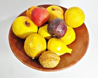 11 Pieces of Vintage Stone Fruit, Vegetables & A Walnut