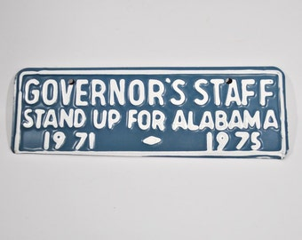 Unused 1971-1975 Alabama Governor's Staff Tag - License Plate