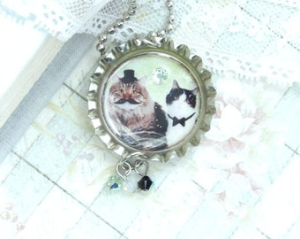Cat Necklace Bottle Cap Necklace Cat Lover Gift Moustache Necklace Cat Jewelry Moustache Jewelry Cat Gift
