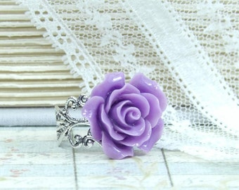 Purple Rose Ring Victorian Jewlery Purple Flower Ring Floral Ring Adjustable Ring Rose Cabochon Ring