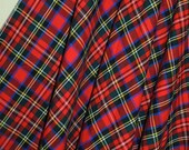 Red Plaid MAXI Skirt made in England size Small