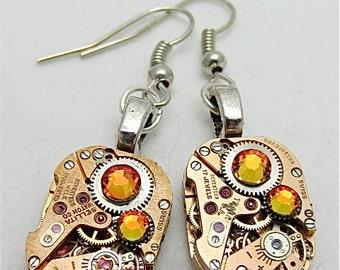 Watch movement Earrings - Gleam - Steampunk Earrings - Repurposed art