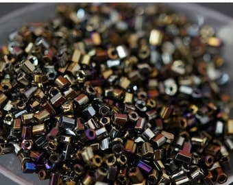 SUMMER SALE SALE - Small Shiny Dark Metallic Gold Purple Color Czech Glass Tube Beads - 3mm - 800 pcs