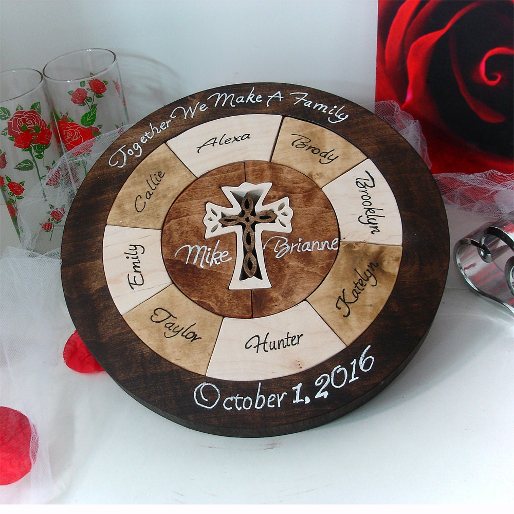 Unity ceremony wedding puzzle custom designed by puzzledone