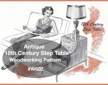 Antique Step Table Woodworking Pattern Instructions For Table This Is A 18TH Century Step Table #W602Pattern -PDF File -  DurhamDeals