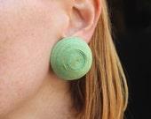 Large Raffia EARRINGS / 1960's Green Clip on Earrings / Vintage Women's Jewelry