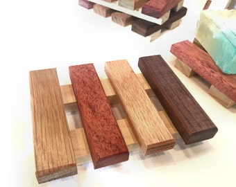 NEW DISH - 4 soap dishes - made of a variety of reclaimd wood