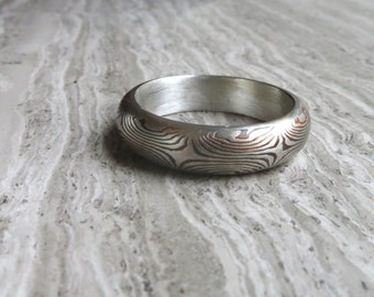 Mokume Ring with Sterling silver liner in Size 8