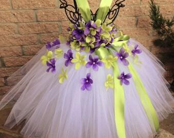 PURPLE and GREEN FLOWERS.  Tutu Dress.  Flower Girl Gown.  Birthday Tutu Dress. White Tutu Dress.  Purple and Green Dress.  Girls Tutu Dress