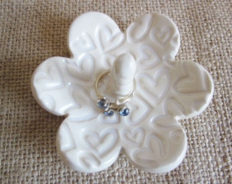 Antique white ring holder, jewelry dish, Gift for Mom, 3.5""