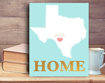 Wedding gift for couples Country wedding Home Sign Romantic gift for couple Texas State Unique Wedding Personalized Gift 1st Anniversary