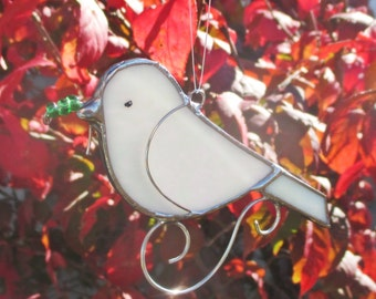 White Peace Dove Bird Stained Glass Christmas Ornament or  Home Decor Suncatcher