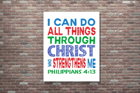 Philippians 4:13, I Can Do All Things,Childrens Scripture Art,Bible Verse,INSTANT DOWNLOAD,Christian Wall Decor, Christian Wall Art