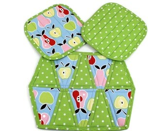 Apples and Pears Hot Pad or Mug Rug in Blue and Green Fruit and Polka Dots, Quilted Pot Holders and or Trivet