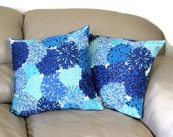 "Blue Decorative Throw Pillow in Chrysanthemum Cotton Fabric - 18"" Cover, B2-17"