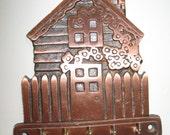 Metal Key Holder, Metal House Key Holder, Metal Wall Plaque Key Rack, Key Hooks, House Key Holder or Hooks, Copper Tone Key Holder