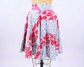 """1950s skirt vintage 50s gray red novelty print high waist skirt S W 25"""""""
