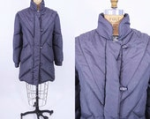 1980s coat vintage 80s charcoal gray quilted puffer down coat S