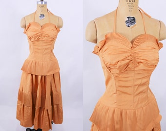 1940s evening gown | peach copper starlet one of a kind dress | vintage 40s gown | W 27""