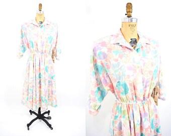 1980s dress vintage 80s deadstock pastel floral shirt dress M/L