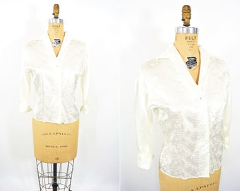1950s blouse 50s vintage white embroidered satin dressy top L
