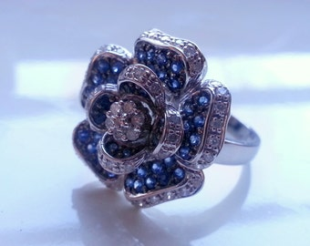 14K White Gold Rose Blue Sapphire And Diamond Ring