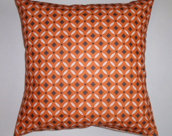 """Throw Pillow Cover, Orange Tile Accent Pillow Cover, Handmade Modern Graphic Print Pillow Cover, Decorative Cushion Cover, 16x16"""" Square"""