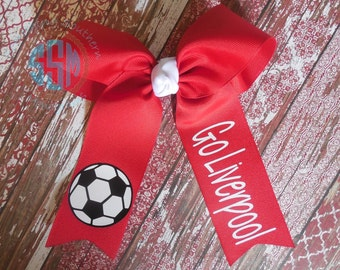 Two Loop Tails Down Monogrammed Soccer Hair Bow---Personalized