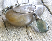 Extra Long Moss Aquamarine Pendant Necklace, Hammered Sterling Silver Circle Pendant