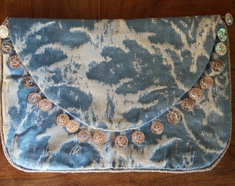 Upcycled Boho Brocade Abstract Floral Print Coin Fringe Purse Clutch