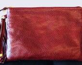 Red Clutch Purse in Faux Leather, Vegan Purse Clutch Bag in Red, Wristlet Purse