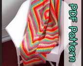 Rainbow Burst Crochet Blanket - PDF Crochet Pattern - Digital Download - CHART - From The Middle - Granny Square - Blanket - EssHaych