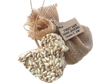 Baby Shower Favor Bird Seed Party Favors for Boy, Girl, or Unknown Gender Baby Showers - Personalized Favor Tags & Burlap Bag - USA Handmade