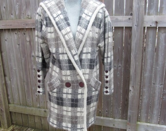 Vintage Sweater Coat, Hong Kong, Plaid, Black, Grey, Off White, Shoulder Pads, Pockets, Wool Blend, Double Breasted, Size Small, Thick, Boho