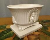 White Planter Mary Vigil Small Ceramic Floral Flower Pot Oval Vintage Flowers