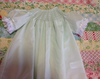 Ready to Smock Button up Back Bishop Style Infant Daygown Made to Order French Handsewn sleeves