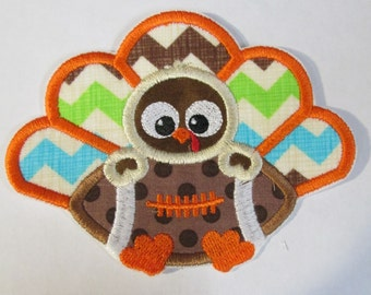 Turkey Boy with Football - Thanksgiving Iron On or Sew On Embroidered Custom Made Applique