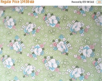 ON SALE Green Multi Flowers Fabric - 1 1/3 yd - Robert Kaufman - Lazy Daisy Baskets