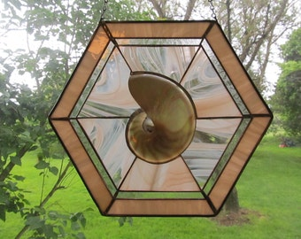 Stained Glass with Sliced Nautilus Shell Half in Peach
