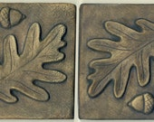 "Pair of Art Tiles -  Two Oak Leaf and Acorn Tiles - Each 4"" Square - Decorative Two Tile Set"