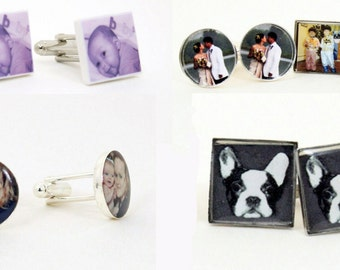 Your Own Photo Personalize Cufflinks For Him (MTO) Handmade - Tie Tack - Cuff links - Father's Day - Wedding - Tuxedo Studs