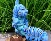 Reserved David Brody The Who R U ? Blue Caterpillar in Alice's Wonderland w his Hookah OOAK Needle felted Artist Doll by Stevi T.