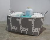 "Diaper Caddy - Fabric Storage Basket - 11"" x 11"" Organizer Bin - Storage Box - Nursery Decor - Laundry - Diaper Bag - Baby Gift - Giraffes"