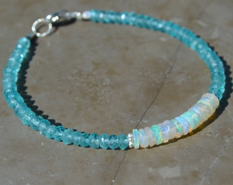Apatite and Ethiopian Opal Stacking Bracelet
