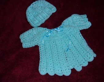 Crochet Baby Sweater & Hat..Girl