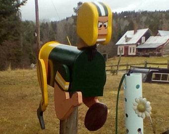 Football mailbox, sports mailbox football guy